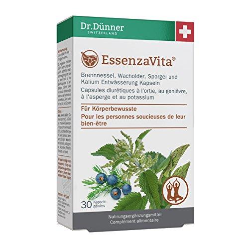 Dr.Dünner EssenzaVita 30 Kapseln zur Entwässerung | Brennnessel, Wacholder, Spargel, Kalium formt & entwässert das Gewebe + ohne Gentechnik + glutenfrei + laktosefrei für Körperbewusste