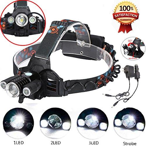 MuSheng Verstellbares elastisches Stirnband Einfach zu tragen T6 LED-Scheinwerfer 18650 Fotozelle Außenscheinwerfer (Outdoor-lichter Fotozelle)