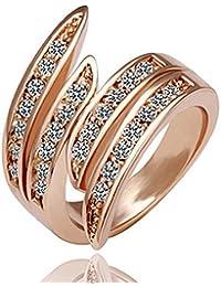 SODIAL Anillo de banda de compromiso de boda de cristal de oro rosa Joyas Elegantes Populares