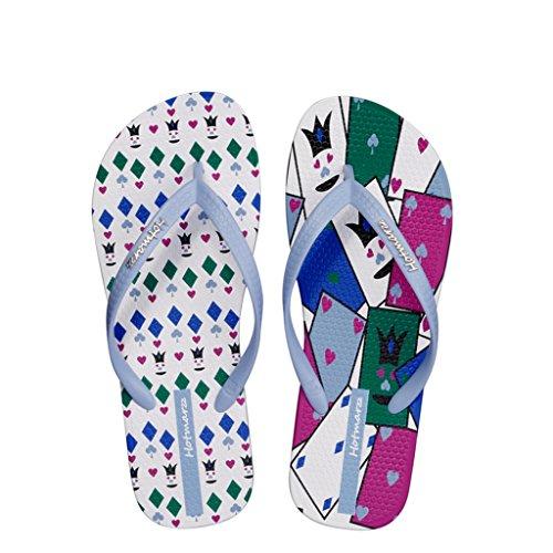 Hotmarzz Donna Infradito Moda Sandali Estate Spiaggia Pantofole Poker Carte Ciabatte Femmina Ragazze Casa Piscina Scivoli Blu