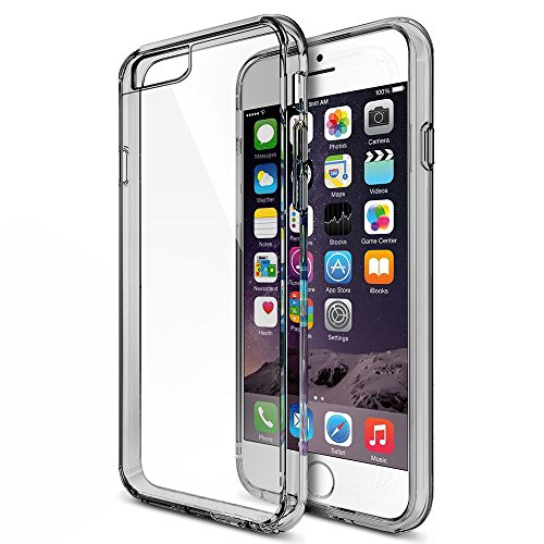 MTT Non Slip Shock Absorption Case for iPhone 6S / 6 Case - Crystal Clear Transparent Back with Multi TPU Bumper - Perfect Non Slip Grip and Corner Protection (SMOKE BLACK)