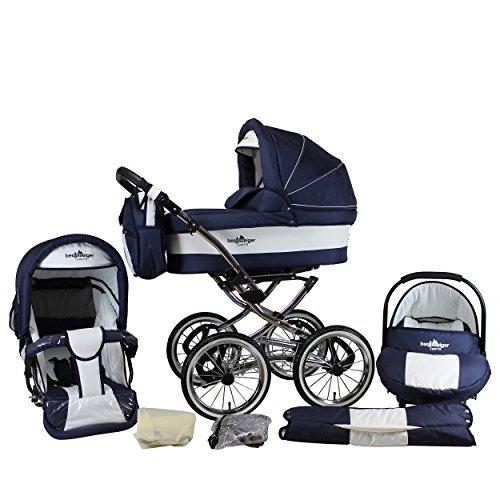 *Bergsteiger Venedig Nostalgie Kinderwagen 3 in 1 Retro Kombikinderwagen Megaset 10 teilig inkl. Babyschale, Babywanne, Sportwagen und Zubehör (marine / white)*