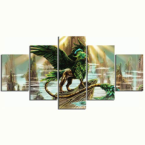 chgznb Leinwanddrucke 5 Stück Fantasy Art Eagle Tiger Cartoon Bilder Wandkunst Leinwand Gemälde Drucke auf Leinwand -