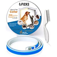 U-picks Dog Flea Collar,6 Months Flea and Tick Control Protection for Dogs Cats,Adjustable Size&Waterproof,Stop Pest Bites&Itching(Blue)