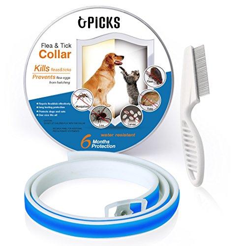 Collar de pulgas para perros, 6 meses de protección contra pulgas y control de garrapatas para perros Gatos, tamaño ajustable e impermeable, Stop Bichos y picazón