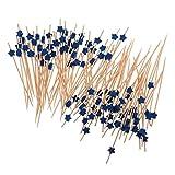 MagiDeal 100pcs Palitos de Cóctel de Bebida de Frutas Decoración de Fiesta de Verano Palillos Agitador Comida Cupcake Forma de Estrella - Azul