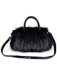 Tenflyer Girls Lady Fashion Korean Style PU Leather  Faux Fur Tote Clutch  Shoulder Bag 2d05fb7c2a823