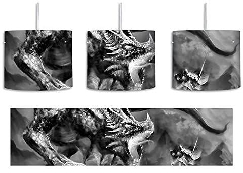 Monocrome, Kampf zwischen Mensch und Drache inkl. Lampenfassung E27, Lampe mit Motivdruck, tolle Deckenlampe, Hängelampe, Pendelleuchte - Durchmesser 30cm - Dekoration mit Licht ideal für Wohnzimmer, Kinderzimmer, Schlafzimmer
