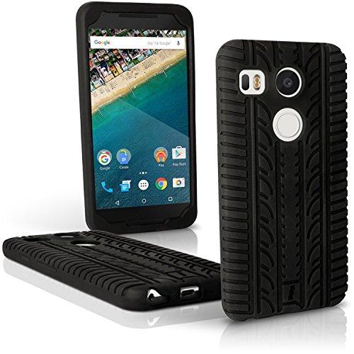 iGadgitz U4275 Reifenprofil Silikon Gummi Etui Tasche Hülle für LG Nexus 5X Schale Case - Schwarz - Geschirrspüler Waschen