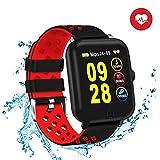 HTSmart Fitness Armband, Fitness-Tracker, Schwimmen Smart-Armbanduhr, mit Herzfrequenz-Monitor, Schrittzähler, Schlafüberwachung, IP68, wasserdicht, Smartwatch für Damen, Herren, Kinder - Rot