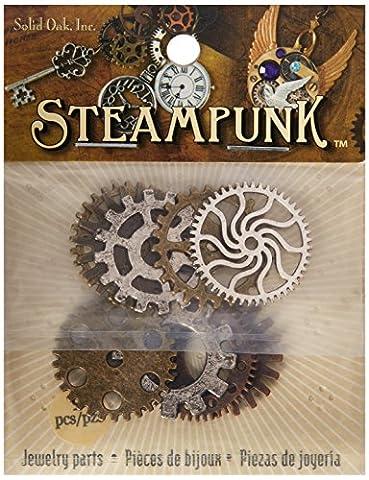 En chêne massif Steampunk Engrenages en métal Accents 9/Pkg, acrylique,