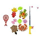 Homyl Kinder Badespielzeug Angelspiel Kinderspiel, Pädagogisches Spielzeug, Angelrute + Enten Fisch Tiermodell - # C - 10 Stücke