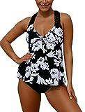 Dokotoo Tankini Set mit Hotpants Große Größen Badeanzug Damen Bequem Swimsuit Swimwear Zwei Stück Beachwear Zweiteilig Bademode Oversize Schwimmanzug 2XL