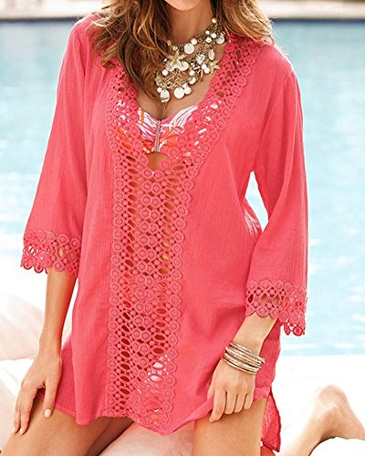 SaiDeng Femmes Sexy Robe De Plage Couverture Maillots De Bain Swimwear 1 Pièces Hollow Out Cover-Up Mini Robe pink