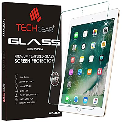 "TECHGEAR® New Apple iPad (9.7"" / 2017) GLASS Edition Genuine Tempered Glass Screen Protector Guard Covers"