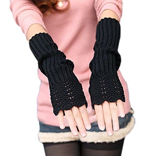 West See Damen Strick Winter fingerlose Handschuhe weiche warme Fausthandschuhe Armstulpen Handwärmer (Schwarz)