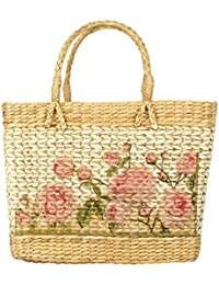HabereIndia Girl's Multicolour Dry Grass Natural Cane Manipur Tote Handbag