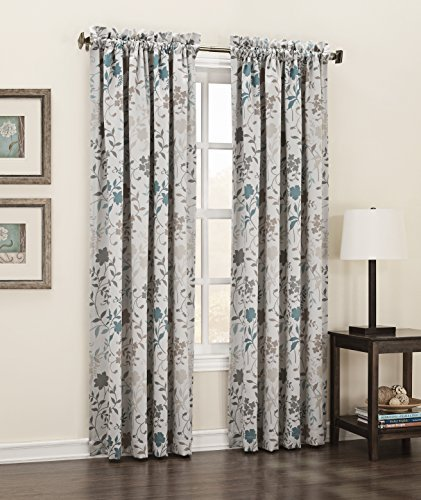 Floral Print Panel (Sun Zero Kara Energy Efficient Rod Pocket Curtain Panel, 54 x 63 Inch, Stone Beige Floral Print by Sun Zero)