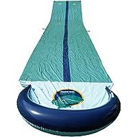 Team Magnus tapis de glisse à eau gonflable double piste toboggan piscine XXL (950 cm x 160 cm)
