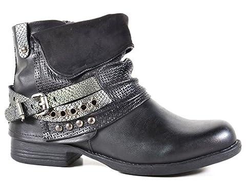 Damen Stiefeletten Biker Boots Nieten Schnallen Knöchelhohe Stiefel Leder-Optik QBZ2 (40, Schwarz)