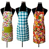 J Home Women's Cotton Apron (19x30-inch) Pack of 3