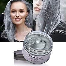 Silver Ash Grey Instant Colour Hair Wax 120g, HailiCare Temporary Hair Dye Wax, Men Women Hair Pomades, Hair Styling Cream Mud Best Salon Hair Clay for Party, Festival, Cosplay & Halloween