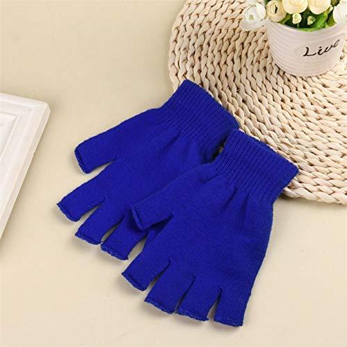 Shenghaotai Unisex Inverno Caldo Knited Dita Dita Mezza Dita Guanti Dita Halbe Finger Warme Stricken(None A Dark Blue)