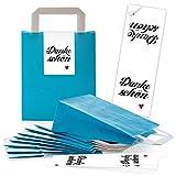 10 blaue Papiertüten Papier-Tragetaschen Henkel-Tüten Boden 18 x 8 x 22 cm kleine Papiertaschen + Aufkleber DANKE-SCHÖN rot weiß HERZ Verpackung Geschenke give-away Kunden Fest