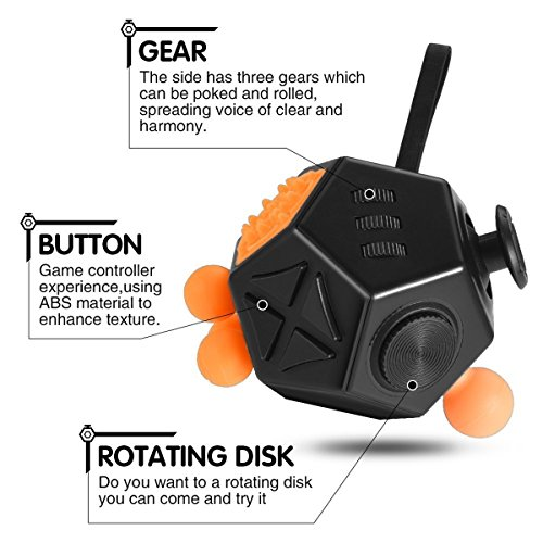 Fidget Toy Cube Relieves Stress and Anxiety for Children and Adults (Dice II – Black) - 5