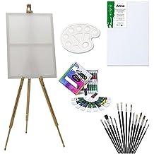 ARTINA® Set di pittura con cavalletto da campagna Malaga - 12 colori acrilici, 1 tavolozza, 12 pennelli, 1 tela 30x40 cm
