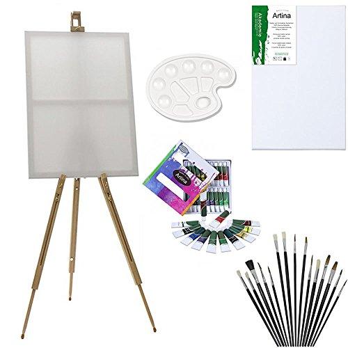Newsbenessere.com 51vhZsYQSWL Artina Set di pittura con cavalletto da campagna Malaga - 12 colori acrilici 1 tavolozza 12 pennelli 1 tela 30x40 cm