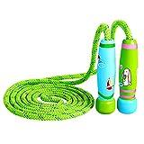 Cuerda para Saltar Skipping Rope ajustable con mango de madera para niños, longitud de 102 pulgadas...