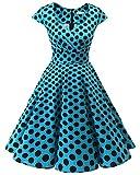 bbonlinedress 1950er Vintage Retro Cocktailkleid Rockabilly V-Ausschnitt Faltenrock Blue Black BDot M