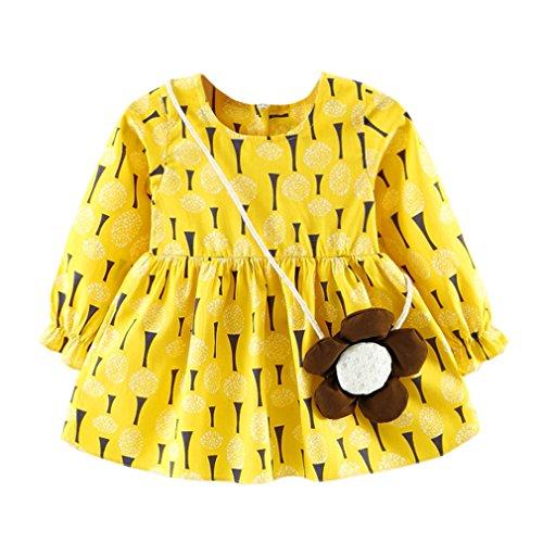 JYJM Nettes Kleinkind Blumenbaby Mädchen volles Hülsen Druck Gallus Kleid (36-48 Monate, (Mädchen Für Kleider Gelb)