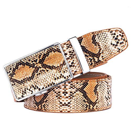 HUIGE Hombres Cinturón Cuero Cuero Trinquete Cinturón De Vestir con La Moda Serpiente Automático Hebilla Deslizante - Recortar para Adaptarse Personalizado,Marrón,120cm/47.2in
