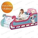 Disney Frozen Sleigh Toddler Bed with Underbed Storage plus Foam Mattress