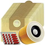 SPARES2GO High Filtration Large Bags + Filter Cartridge for Karcher WD3 WD3P Wet & Dry Vacuum Cleaner (Pack of 20 + Filter + Fresheners)
