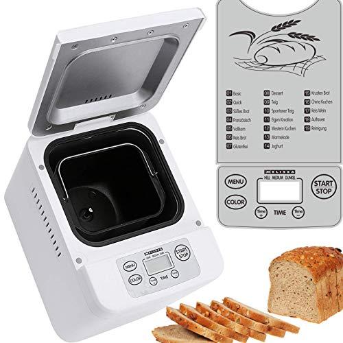 Melissa 16260010-Panificadora (con preparación automática de masa y pan, Panificadora para hacer pan de mermeladas de Yoghurt de pizza Masa, Pan de goteo con temporizador, 500W, Programas de 19