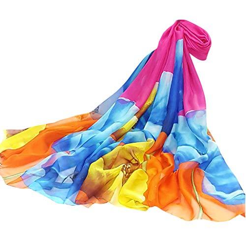 VEMOW Heißer Verkauf Elegante Frauen Damen Pfingstrose Schal Sonnencreme schal Unendlichkeit Wrap Silk Täglichen Party Workout Freizeit Schal Schals(X8-Hot pink, 195cmX147CM)