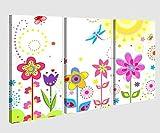 Leinwandbild 3 tlg Blume Sonne Schmetterlinge Blumen rot lila Kinderzimmer Bild Bilder Leinwand Leinwandbilder Holz Wandbild mehrteilig 9W051, 3 tlg BxH:120x80cm (3Stk 40 x 80cm)