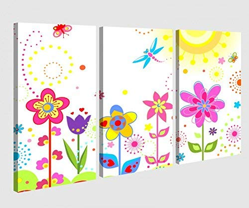 Foto en Lienzo 3 Piezas Flor Sol Mariposas Flores Rojo Púrpura Dormitorio Infantil Cuadro Fotos de Lona Cuadros en Lienzo Madera Mural de Varias Partes 9W051-120x80cm (3Stk 40x 80cm)