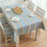 Dafa Tischdecken Polyester gestreifte Spleiß-Blaue Tischdecke rechteckiger Kaffee/Studie / Abendessen Schreibtisch Antependium (Design : Crimping, Size : 120 * 120cm)