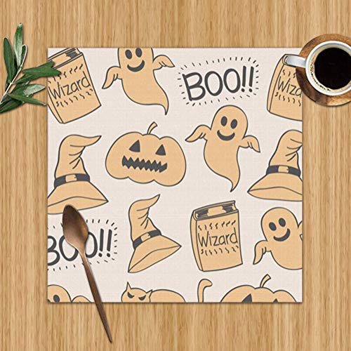 Pillow Socks Placemats Set of 4,Cat Halloween Drawing Holidays Miscellaneous Heat-Resistant Placemats Washable Table Mats for Kitchen Dining Table 12X12 Inch