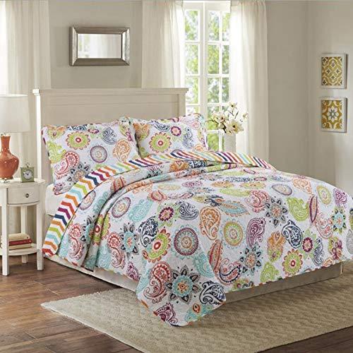 RONGXIE Floral Tagesdecke Kissenbezüge Königin King Size Bunte Bettdecke Set Dicke Bettdecke Pflanze Quilt 100% Baumwolle Decke 230cmx250cm