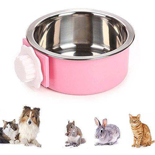 iPetoo 2 in 1 Edelstahl hundenapf Haustier Hängender Fressnapf, Futternapf Wassernapf Zum Einhängen für Kisten & Käfige, Höhenverstellbar