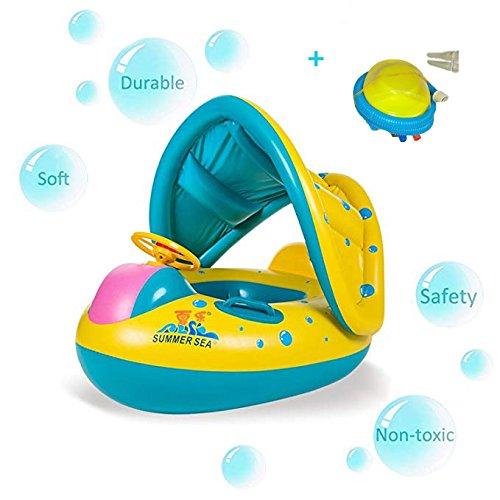 Emsems Schwimmbad Boot PVC Baby Float mit verstellbaren Sonnenschirm robuste Griffe und Luftpumpe Safty für Alter 6-36 Monate Kleinkind Kinder
