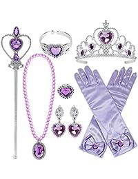 12ad9eae251b Tacobear Princesa Disfraz Accesorios Niña Princesa Collar Corona Guantes  Pendiente Varita Mágica Pulsera Anillo Princesa Joyas