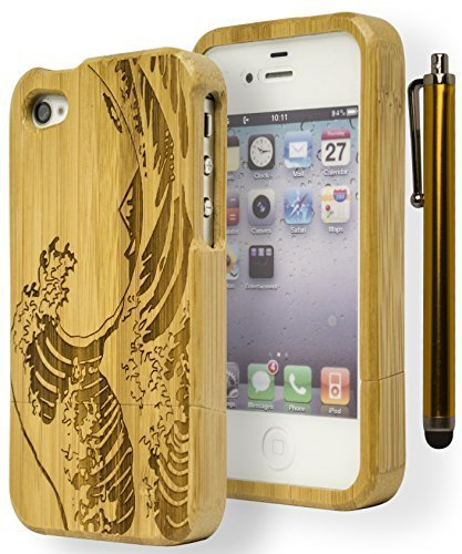 iPhone 4Handy Fall, Bastex Gravur Japanische Malerei The Great Wave Off Kanagawa Bambus Handy Schutzhülle für Apple iPhone 4, 4G, 4S, 4gsincludes Stylus (Iphone Virgin Mobile-handys 4)