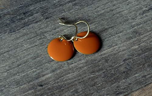 feine kleine Emaille Ohrringe in orange goldfarben