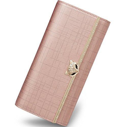 b802846eb1 Portafoglio donna in pelle FOXER Portafoglio Trifold Portafoglio con  cerniera per donna (rosa)